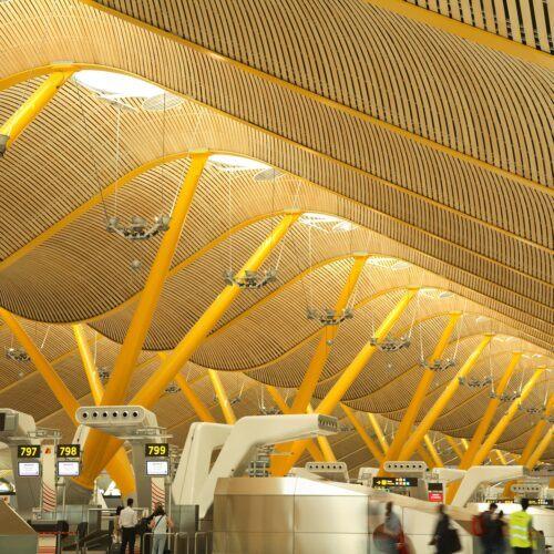 Bamboo ceiling in Madrid International AirportBamboo ceiling in Madrid International Airport