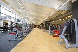Bamboo elevated flooring Virgin gym