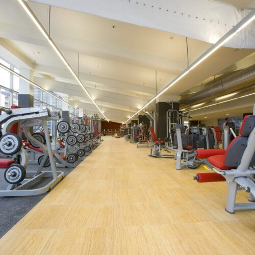 Bamboo elevated computer flooring Virgin gym