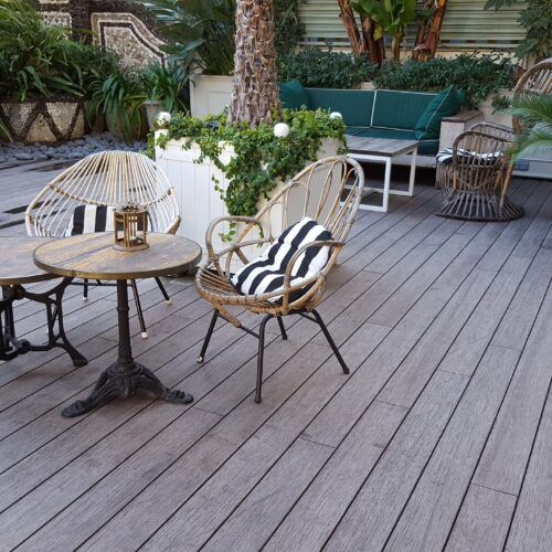 Bamboo deck boards at Cotton House Hotel 5* by Marriott Barcelona