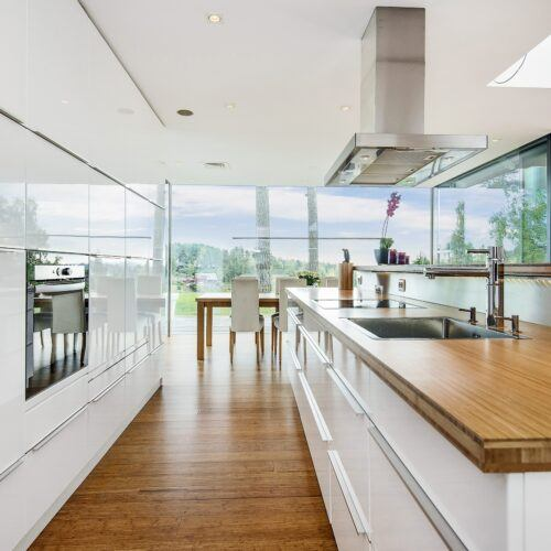 MOSO Bamboo floor and panel used in kitchen private residence in Asker, Norway