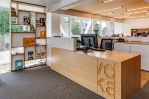 Bamboo desk in Voka Chamber of Commerce