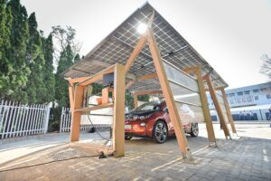 Bamboo N-finity beams in BMW Solar Carport