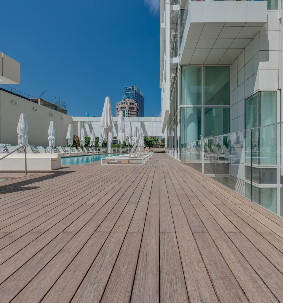 Bamboo decking with certification at Meier
