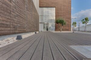 MOSO Bamboo X-treme cladding and decking around a Bank Building