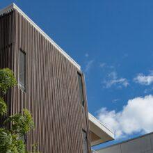 Revestimento de fachada em bamboo na casa de repouso Bo-og