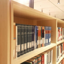 Bamboo bookcases in the Central University library Trento