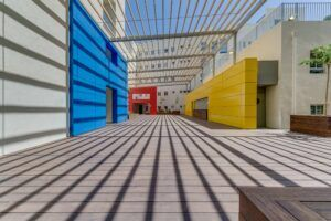 MOSO Bamboo X-treme decking and cladding used at Tel Aviv Municipal Engineering Headquarters