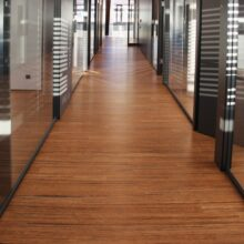 Bamboo flooring striped in office