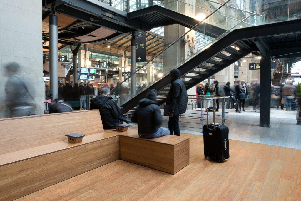 Bamboo Ultradensity Flooring in Railway Station Paris Gare du Nord