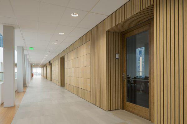 Les placages épais en bambou sont appliqués en revêtements muraux sur le Campus STC Waalhaven