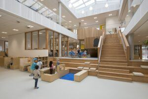 "Bamboo stairs and furniture in Public Elementary School ""IKC De Toverberg"""