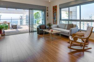 Bamboo solida flooring and terrace at Dror Golan Apartment