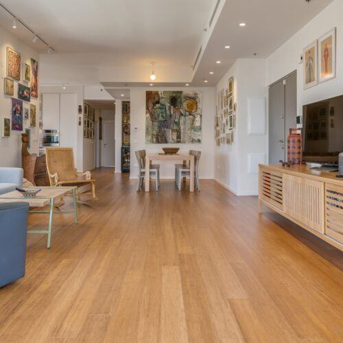 Bamboo solida flooring and terrace at Dror Golan Apartment