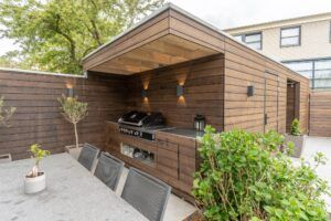 Bamboo cladding with outdoor kitchen