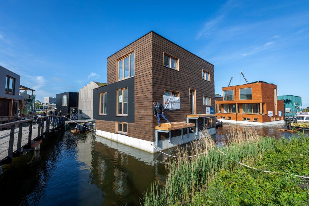 Bamboo X-treme cladding and furniture beams at Schoonschip Amsterdam