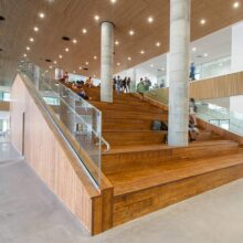 MOSO Bamboo Ultra Density flooring and stairs in High School Shevach Mofet