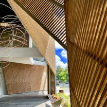MOSO Bamboo N-finity outdoor beams used in Capilla Las Flores
