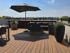 MOSO Bambusdecke verwendet bei Dachterrasse Amsterdam