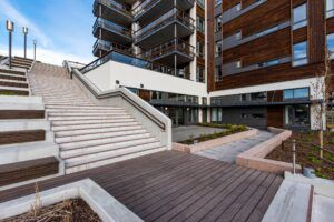 MOSO® Bamboo X-treme® Decking used in a staircase