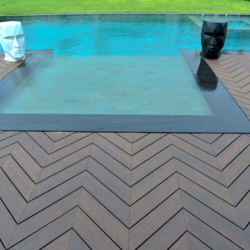 MOSO® Bamboo X-treme® Decking boards installed with a chevron pattern on the outside terrace