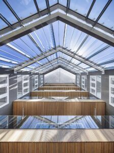 MOSO Bamboo Beams used in BREEAM Excellence project Schindler Headquarter, France
