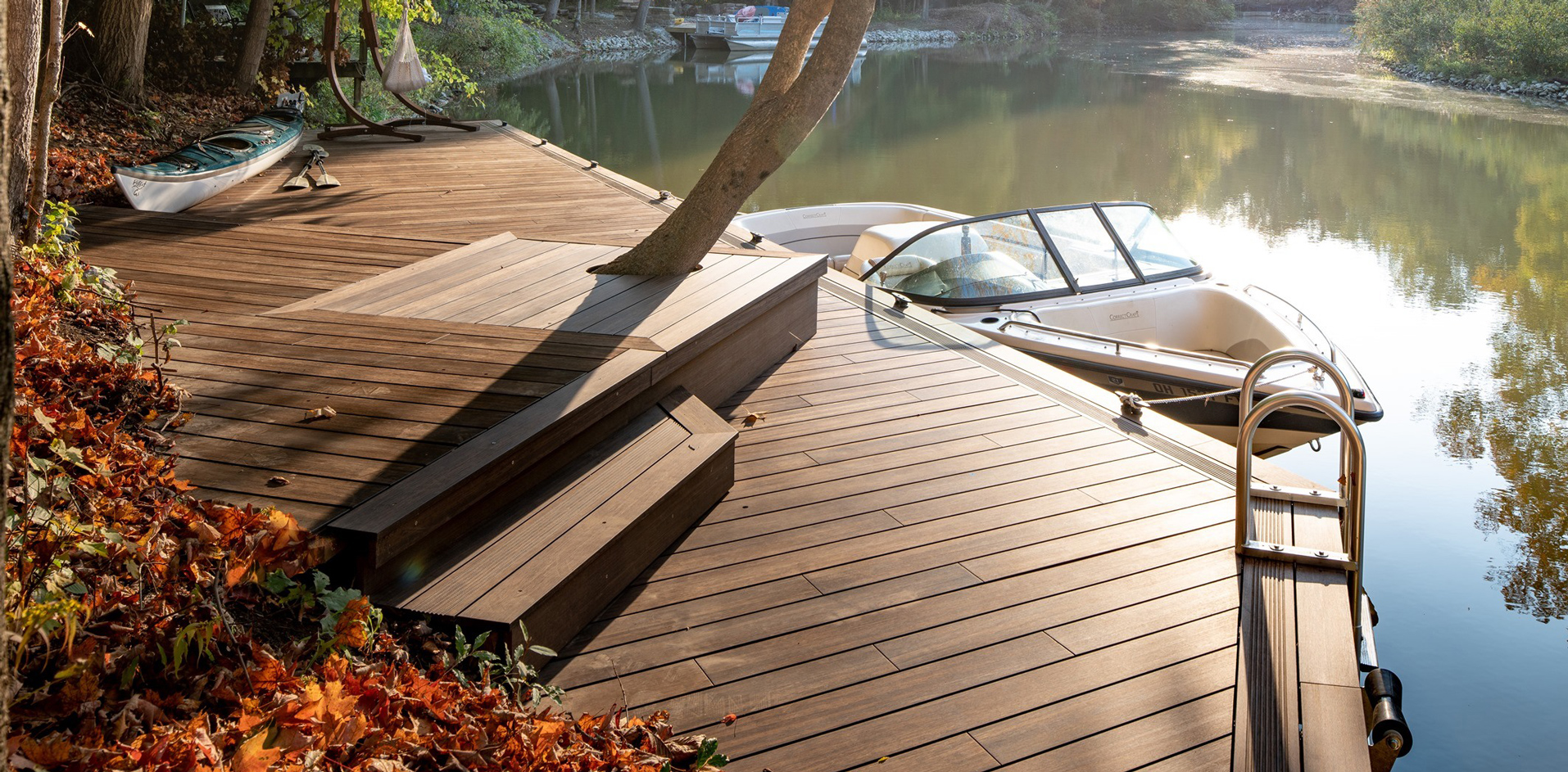 Bamboo decking in a dock