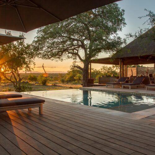 stunning bamboo deck at safari lodge Imagine Africa