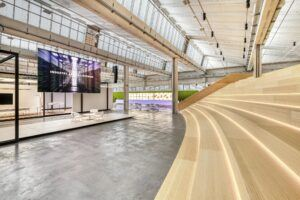 MOSO Bamboo Solid Panel used as a staircase with seating at the Light Forum