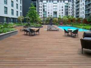 Bamboo X-treme Decking around the swimming pool at the Marriot Hotel Melrose Arch in Johannesburg
