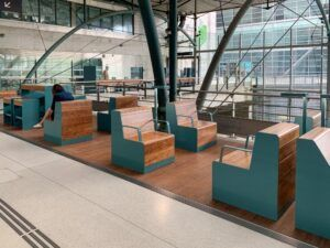 MOSO Bamboo UltraDensity used as flooring and furniture at the Railway Station Lille Europe