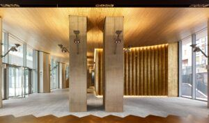 Moso Bamboo indoor beams and Bamboo Solid Panel used at Corso Como Place