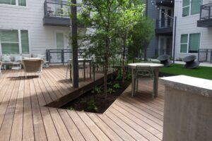 MOSO Bamboo X-treme decking used for an outdoor terrace at South 44 Apartments