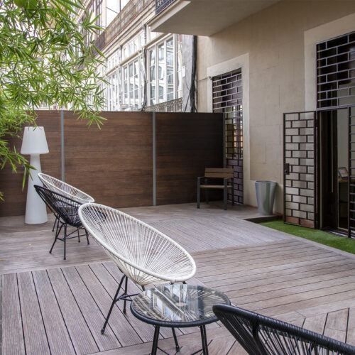 bamboo terrace and fence in barcelona
