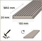 MOSO bamboo x-treme outdoor decking V-groove 155 dimensions